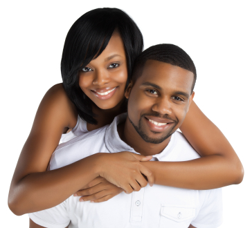 A beautiful young African American man and woman photographed on a white background wearing white clothing.