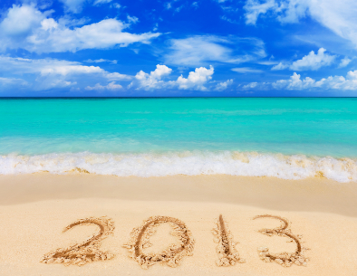 Numbers 2013 on beach - concept holiday background