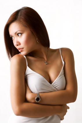 beautiful gorgeous asian woman looking towards the side