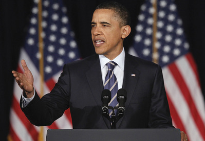 President Barack Obama outlines his fiscal policy during an address at George Washington University in Washington, Wednesday, April 13, 2011. (AP Photo/Charles Dharapak)