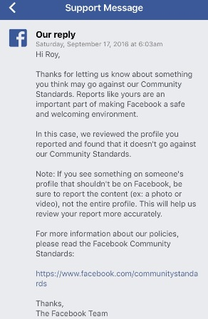 Facebook's Response to the Catfish Roy Kim- We Don't Care