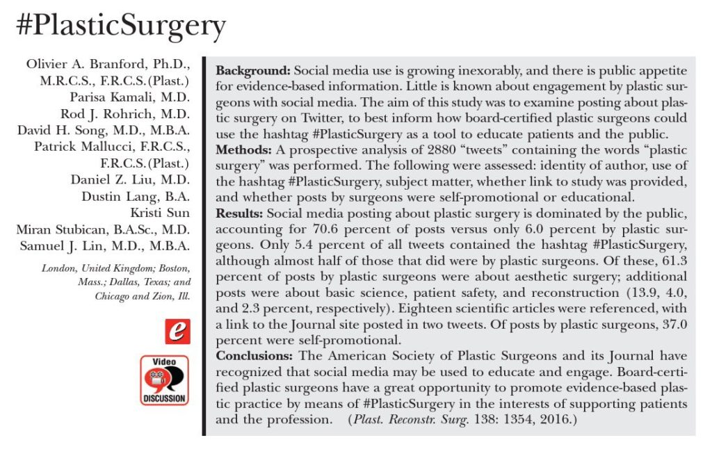 #plasticsurgery - article by Dr. Olivier Branford et al, PRS, December 2016